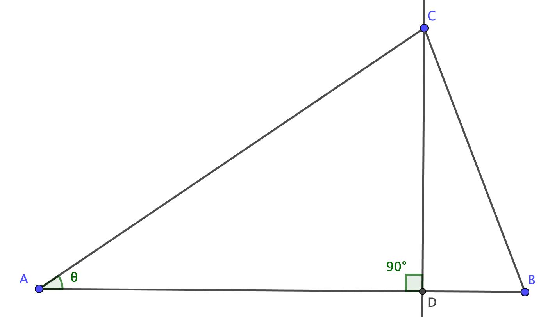 頂点から垂線を下ろした直角三角形